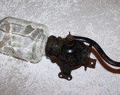 Vintage Arcade Crystal Wall Mount Coffee Grinder No. 3 Cast Iron Glass