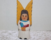 Vintage Mexican Folk Art Wood Carved Angel Holding Bird Mexico South America