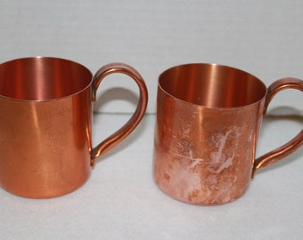 2 Vintage Copper Mugs Moscow Mule Tankard Cups