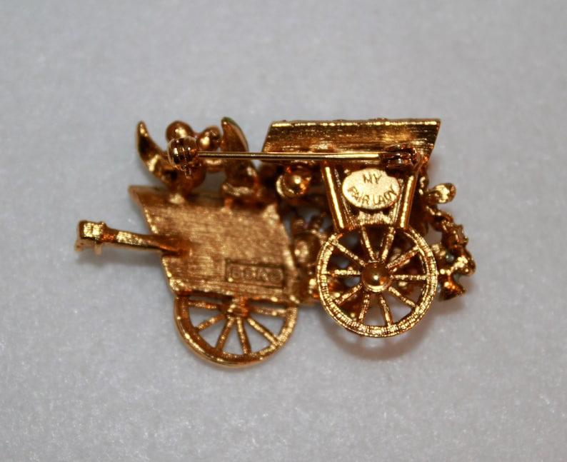 Vintage BSK My Fair Lady Flower Cart Enamel Rhinestones Pin Brooch