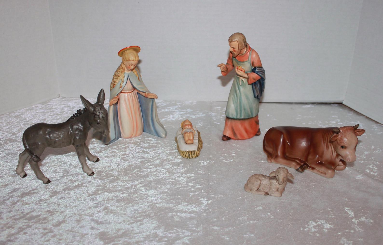 6 Piece Goebel Hummel Nativity Set Mary Joseph Jesus Donkey Oxen Lamb TMK-4