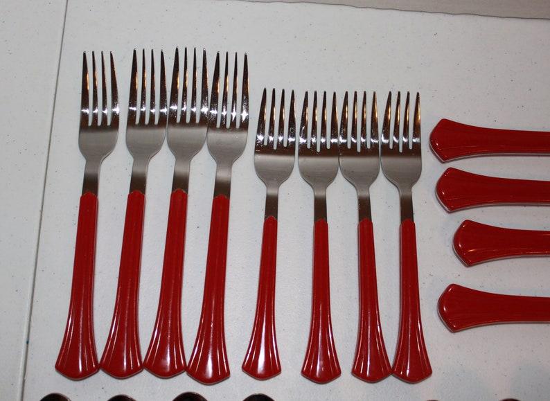 20 Pieces Northland Oneida Red Luminaire Flatware Flare Handle Service 4 Japan