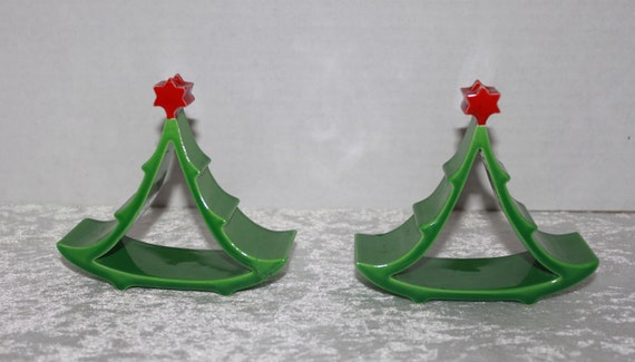 2 Mid Century Modern Ceramic Christmas Tree Taper Candle Holders Made In Italy