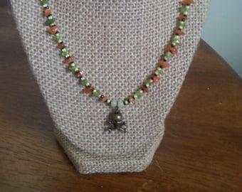 Peridot and Carnelian Skull Necklace