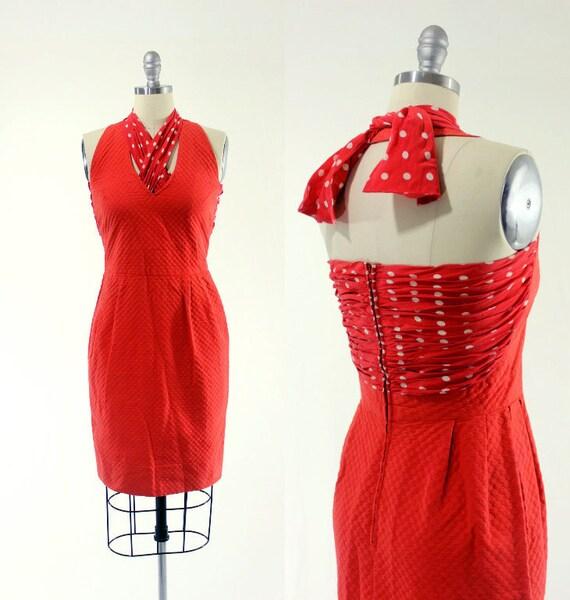 1950's Red Halter Dress S M Polkadot