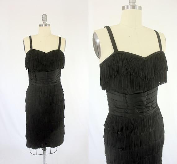 1950's Black Fringe Cocktail Dress S M Edward Abbo
