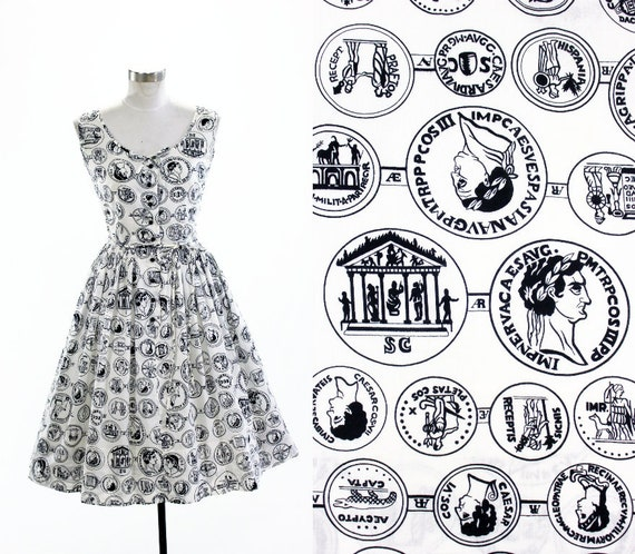 1950's Roman Coin Novelty Print Dress S M Serbin C