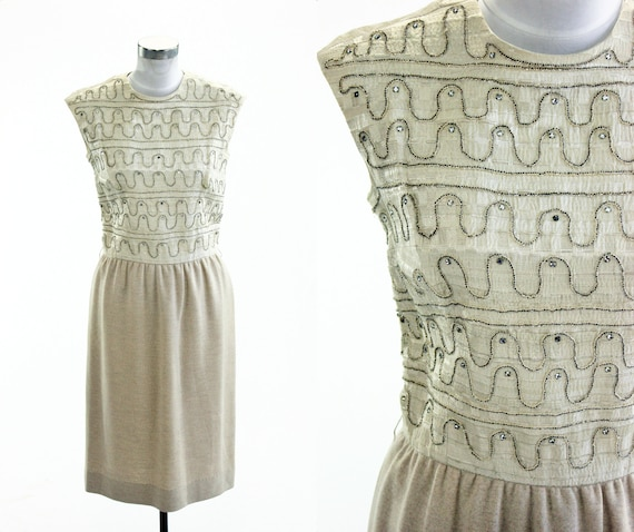 1950's Carlye Beaded Cocktail Dress M L Rhinestone