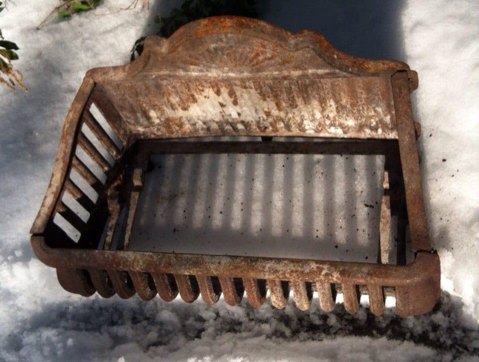 Antique Cast Iron Fireplace Basket Grate Coal Box Wood Log Etsy