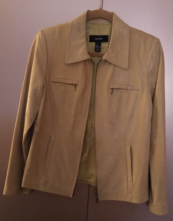 Alfani Snakeskin Leather Jacket Pale Yellow Green/