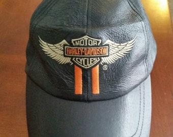 f328e11840934 Vintage Unisex Harley-Davidson Black Leather Ball Cap One Size