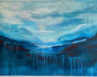 Breath of the Evening Sea, Large Original Acrylic Painting