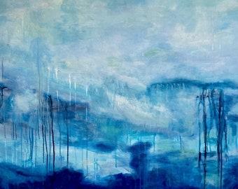 Morning Mist of the Sea, Large Original Acrylic Painting