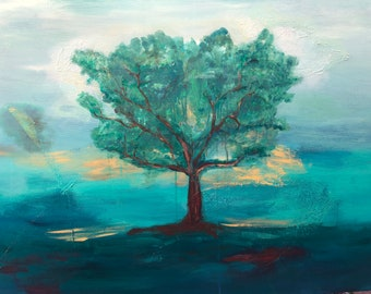 Early Morning Tree Landscape, Large Original Acrylic Painting