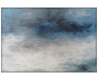 Abstract Seascape Original Painting on Canvas Contemporary/Modern Painting  - 36x48- Blue-Gray, White, and more