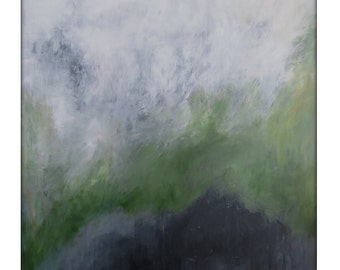 Large Abstract Painting on Canvas Modern Acrylic Pure Abstract 48x48- White, Greys, Greens