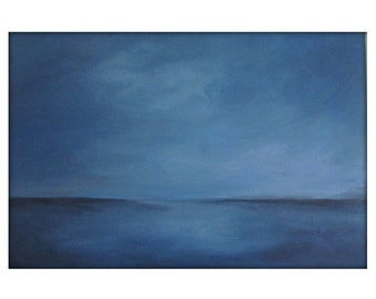 Large Abstract Painting on Canvas Modern Acrylic Skyline- 24x36- Grays, Blues, Whites and more