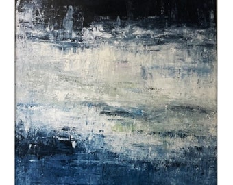 Abstract Seascape Original Painting on Canvas Contemporary/Modern Painting  - 36x36 Navy, Cream, Blue, White, Green, Pink