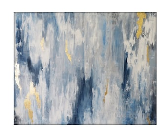 Large Abstract  Original Painting on Canvas Contemporary/Modern Painting  - 48x60 - Gray, Blue, Gold, White, and more