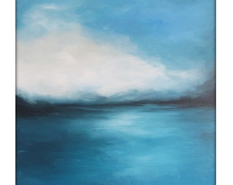 Large Abstract Painting on Canvas Modern Acrylic Skyline- 30x54- Blues, blue-Greens, Whites and more