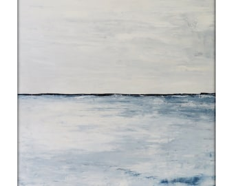 Abstract Seascape Landscape Original Acrylic Modern Painting on Canvas -40x40 - white,blue,gray