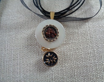 Victorian Brass flowers on Mother of Pearl Ribbon Necklace  OOAK