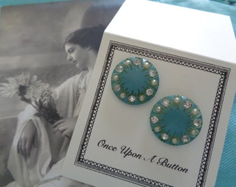 Vintage 1940s Turquoise Button Earrings w Pearls