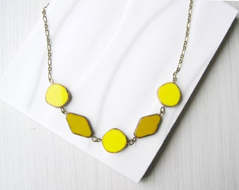 Yellow Necklace, Czech Glass Jewlery, Beaded, Bib, Anitqued Brass, Mustard, Simple, Nickel Free Sterling Silver Option, Colorful