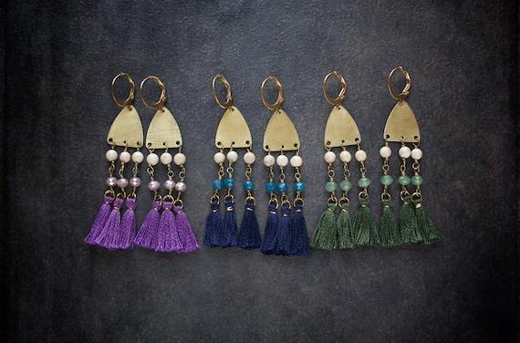 Orange Festival Tassel Necklace Pom Pom Fringe Boho Vintage Rhinestone Rosary Chain Repurposed Brass Red Navy Crystal Beaded Camel Swag