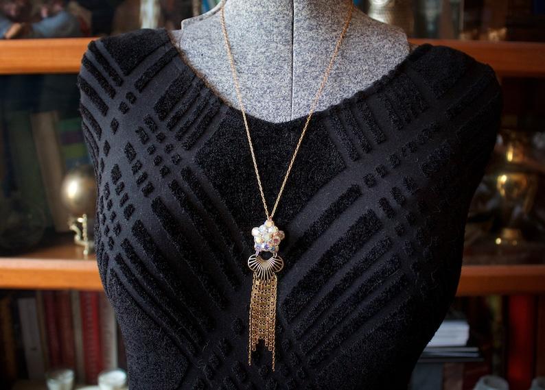 Rhinestone Cluster Chain Fringe Assemblage Necklace Vintage AB Rhinestone Flashy Scroll Chain Art Deco Edwardian