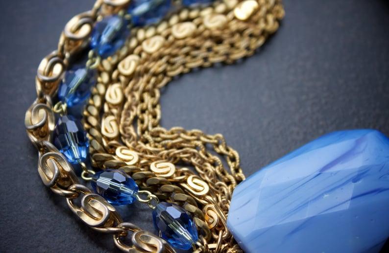 Century Blue Lace Agate Slab Vintage Gold Chain Bracelet Multi Strand Vintage Gold Chains Faceted Powder Blue Agate Blue Crystals Mid