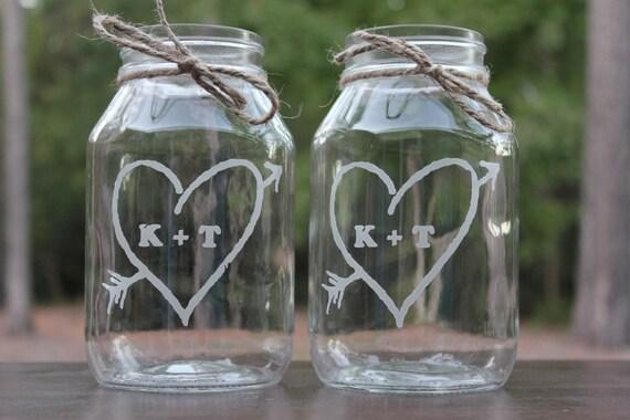 12 Quart Mason Jars Engraved Wedding Vases Personalized Etsy