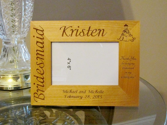Personalized Engraved Wood Picture Frame Bridesmaid Gift Bridal Party Gifts Customized Wood Picture Frame Engraved Picture Frames