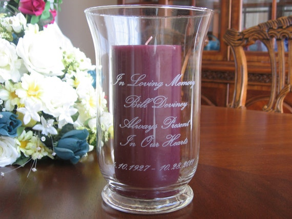 Memorial Candle Holder Personalized Engraved Etsy