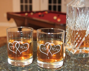 Set Of Rock Glasses Double Heart With Initials, Whisky Glass Set, Barware, Drinkware, Rock Glass Set, Personalized Rock Glass Set
