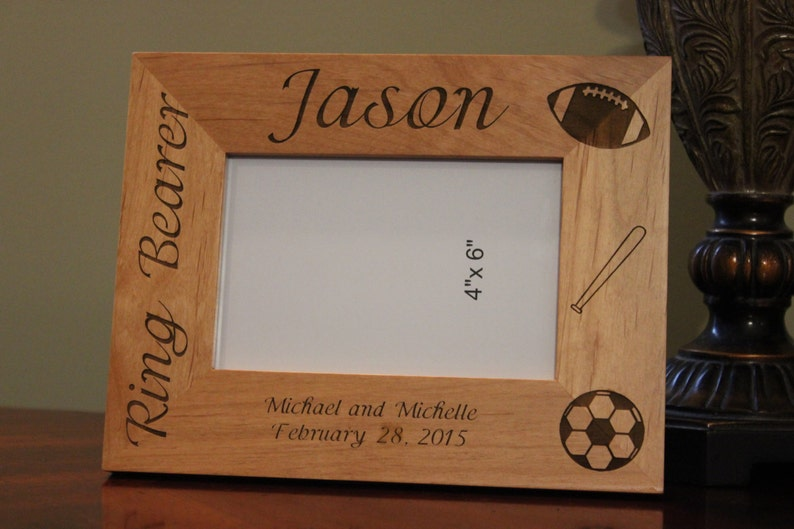 Personalized Engraved Wood Picture Frame Ring Bearer Gift Ring Bearer Frame Customized Wood Picture Frame Engraved Picture Frames
