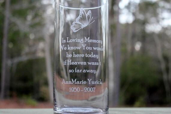 Personalized Memorial Glass Vase Engraved Memorial Vase Etsy