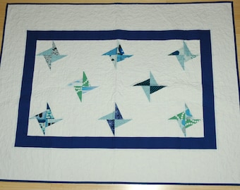 Blue and White Pinwheel Quilt