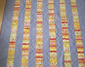 Yellow and Red Stacked Coin Twin Quilt