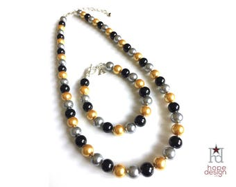 USMA Pearl Necklace | USMA Pearl Bracelet | Black Gold Gray Glass Pearl Necklace | Cadet | USMA Mom | West Point | Army Gift Idea | 111860