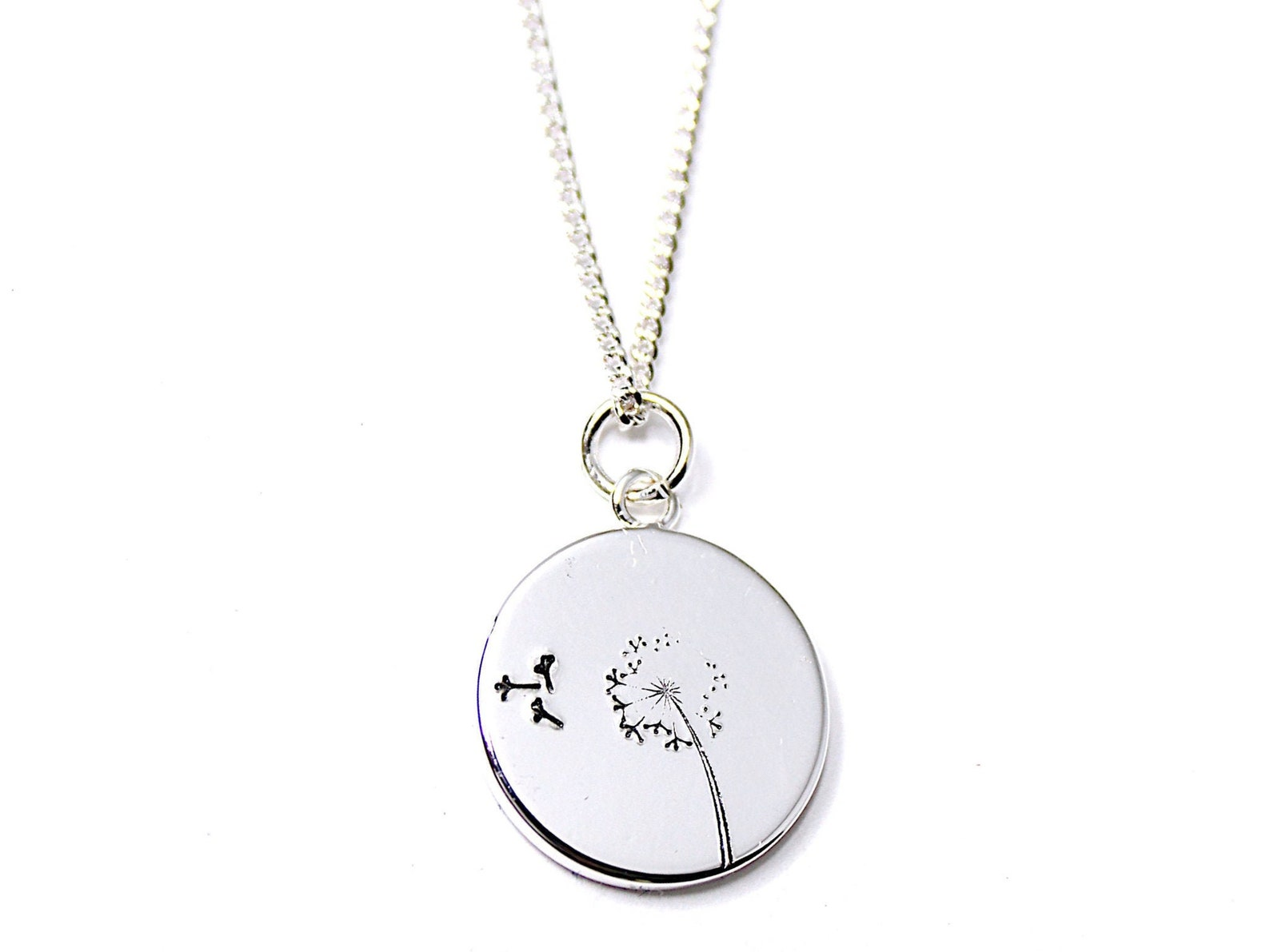hand-stamped dandelion necklace for military kids who are known as dandelions