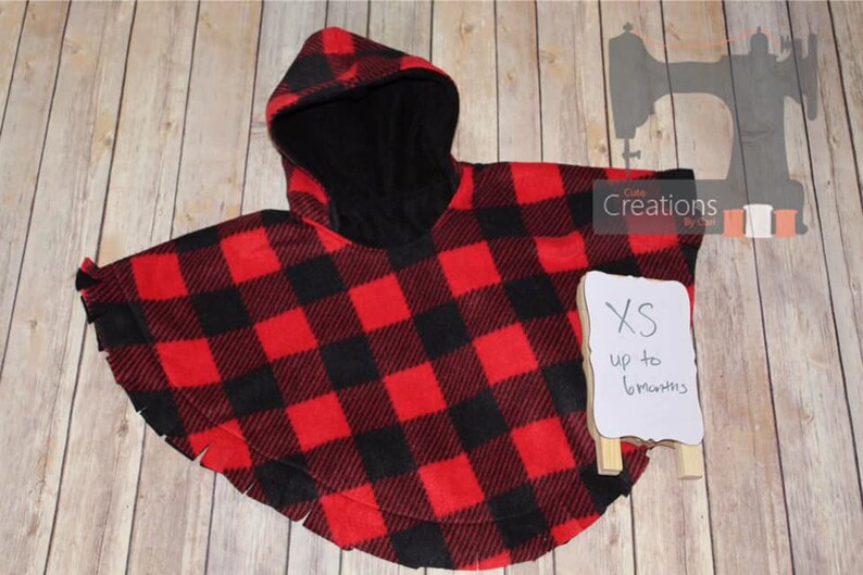 fleece poncho size xs up to 69 months