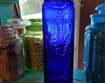Tall Vintage Cobalt Blue 1950's Casadis Milano Spaghetti Jar  Bottle with Bale Lid