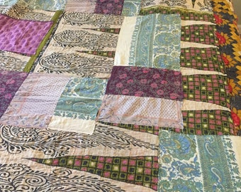 Handmade Gypsy Caravan Kantha style Quilt Hippie Boho Tribal Patchwork throw Vintage Fabric 61x88 Upcycled