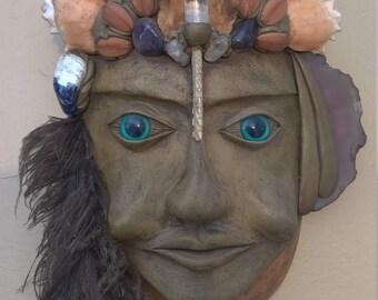 Vintage Handmade Gourd Clay Boho Ocean God Goddess Mask Wall Hanging