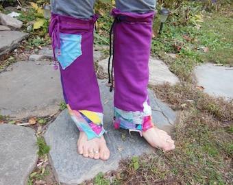 FrUmPy GiRL Leg Flares Warmers Patchwork Rainbow Boho with Pocket