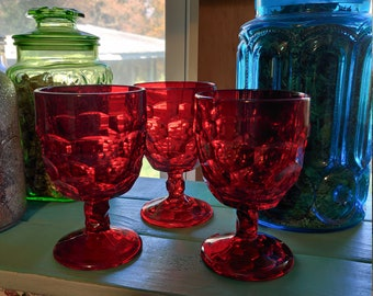 Vintage Red Glass Honeycomb Colored Wine Cup Goblet Scarlet Ruby Large