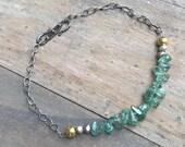 Aquamarine bracelet. Blue gem Sterling silver gold bracelet. Mixed metals. Gemstone bracelet. One of a kind jewelry. Handmade bracelets