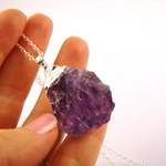 Sale raw purple Amethyst druzy pendant Silver Dipped Crystal long Necklace.  Geode jewelry. Choose Your Length 16 to 30''