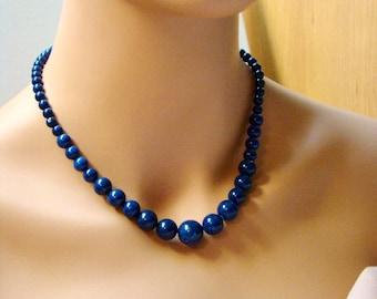 Sale Blue Lapis Lazuli Necklace. Natural Lapis necklace. Descending necklace. Dark blue stone jewelry. Genuine Lapis necklace. Royal blue